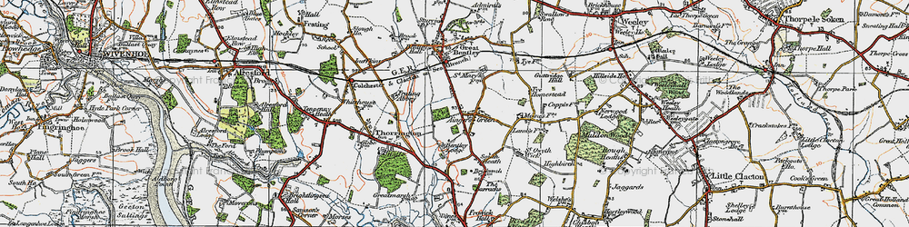 Old map of Aingers Green in 1921