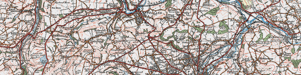 Old map of Ainley Top in 1925