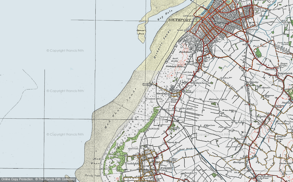Old Map of Historic Map covering Ainsdale Hills in 1923