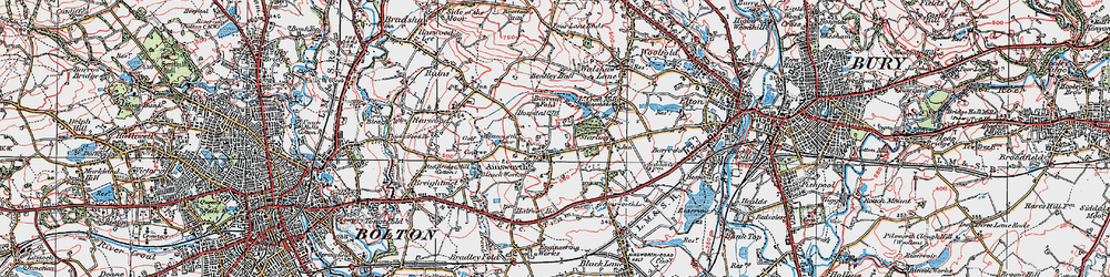 Old map of Ainsworth in 1924