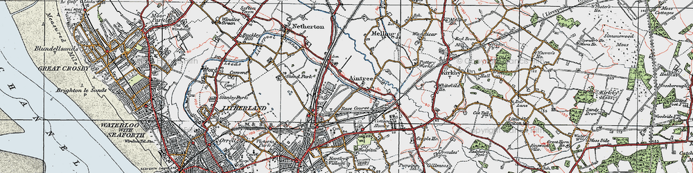 Old map of Aintree in 1923