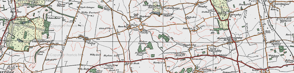 Old map of Aisby in 1922