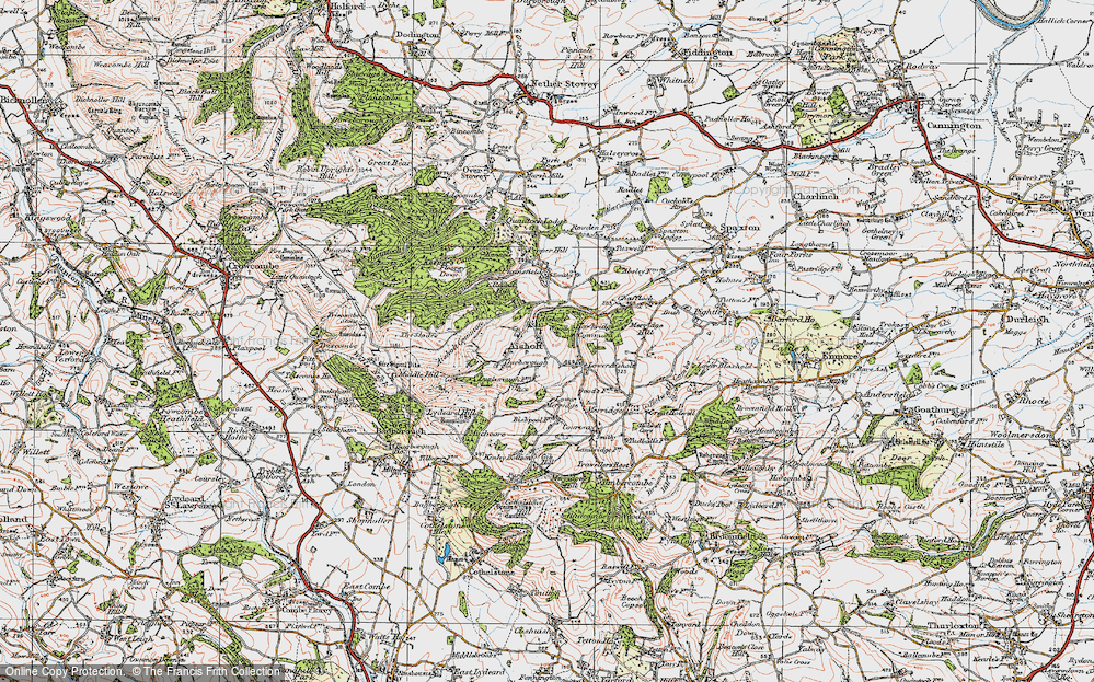 Old Map of Historic Map covering Aisholt Common in 1919