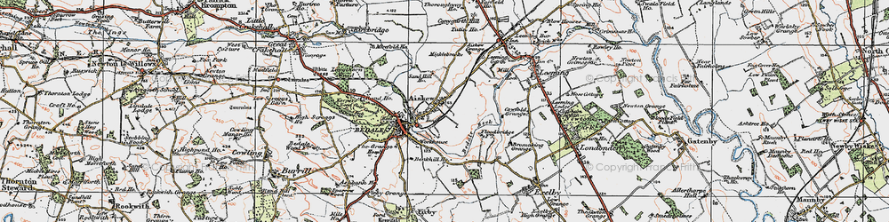 Old map of Aiskew Grange in 1925