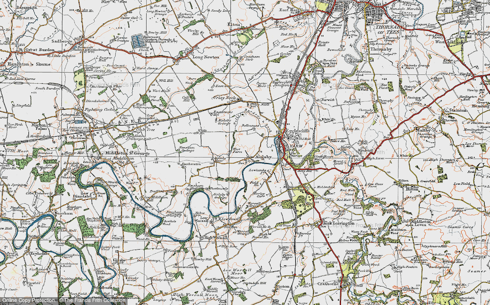 Old Map of Aislaby, 1925 in 1925