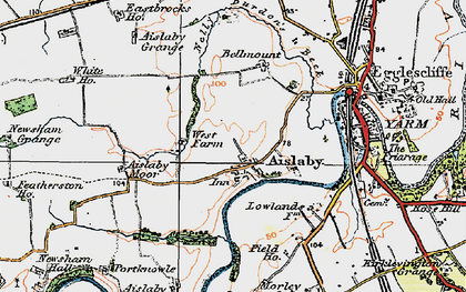 Old map of Aislaby Grange in 1925
