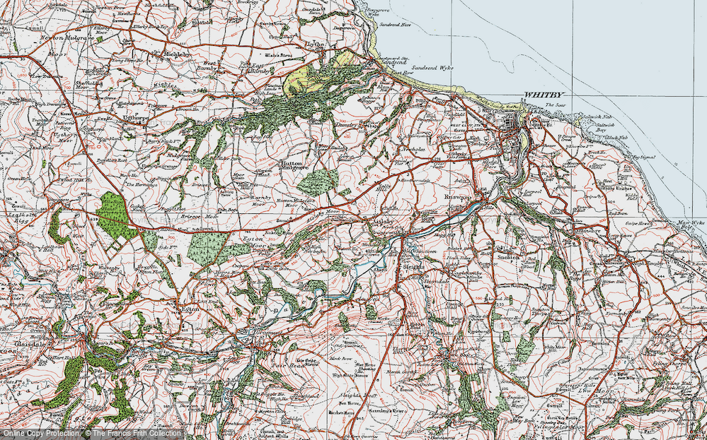 Old Map of Historic Map covering Aislaby Moor in 1925