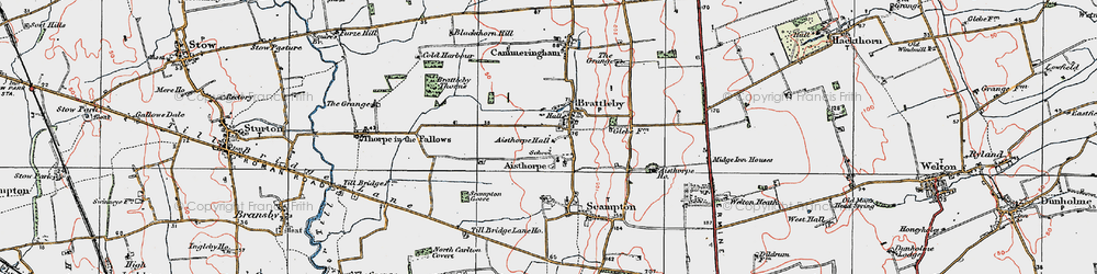 Old map of Aisthorpe Hall in 1923