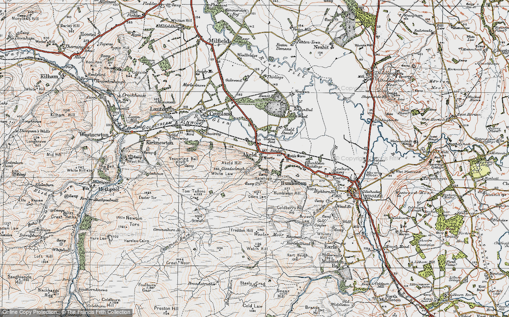 Old Map of Historic Map covering Akeld Steads in 1926