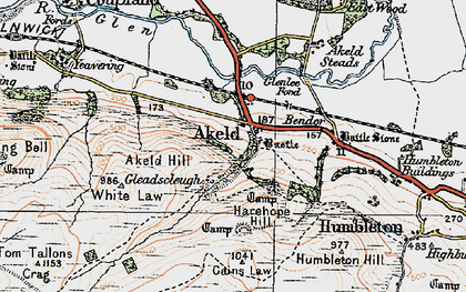 Old map of Akeld Hill in 1926