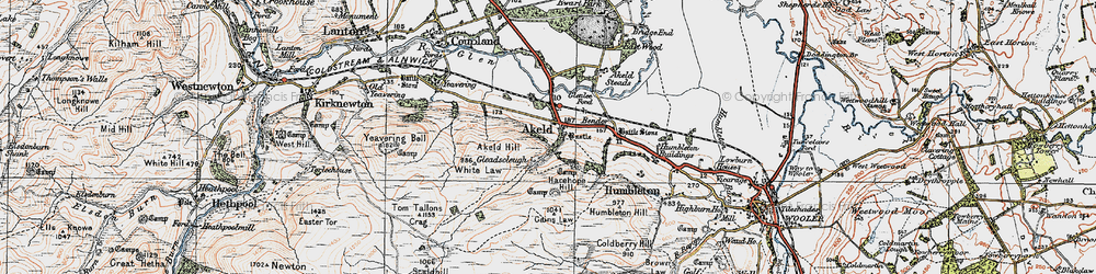 Old map of Tom Tallon's Crag in 1926
