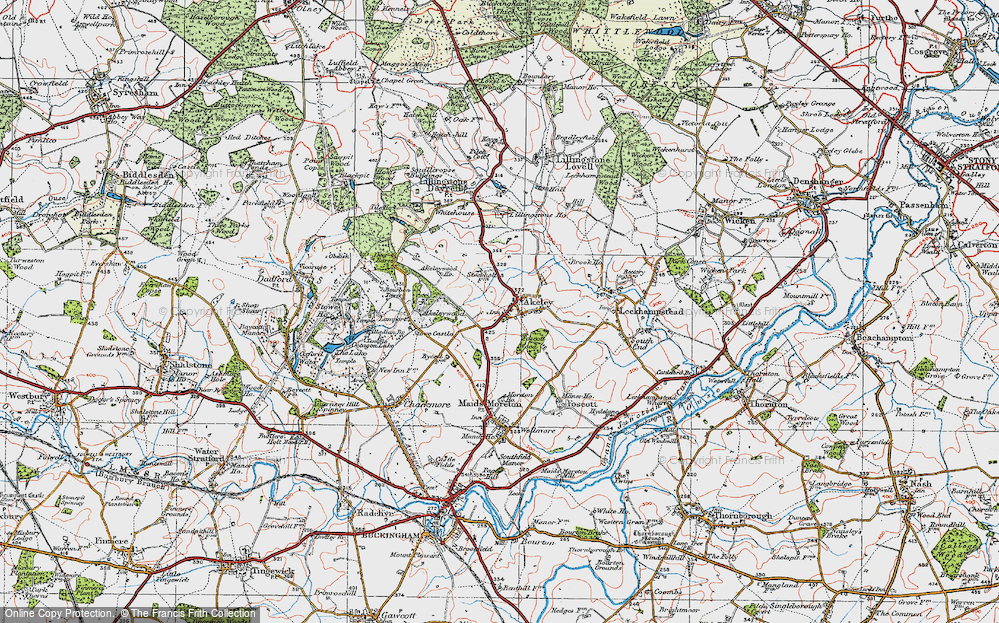 Old Map of Historic Map covering Akeley Wood School in 1919