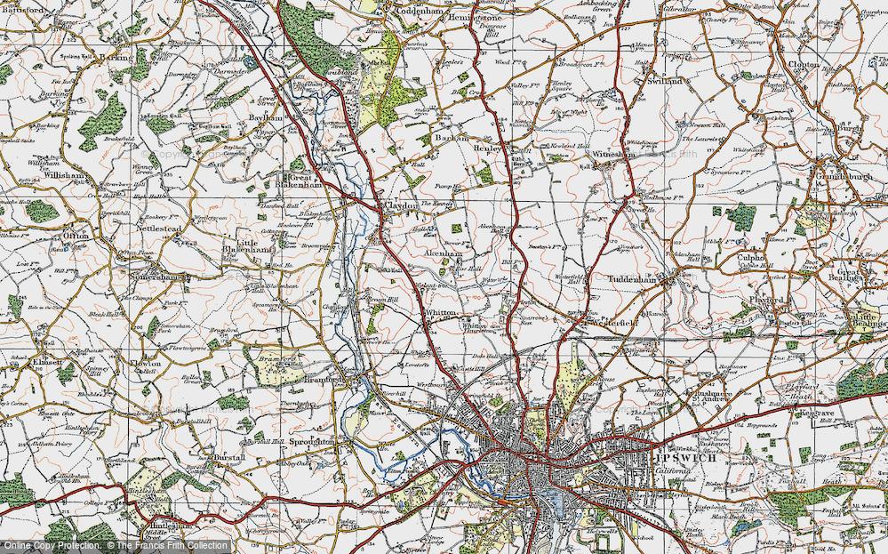 Old Map of Akenham, 1921 in 1921