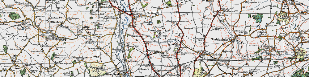 Old map of Akenham Hall in 1921