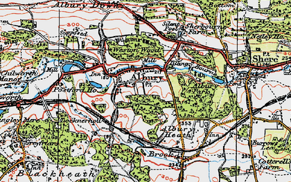 Old map of Albury Park in 1920