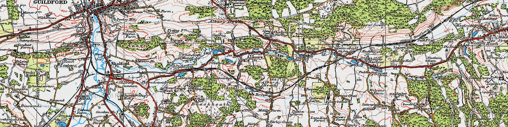 Old map of Albury in 1920