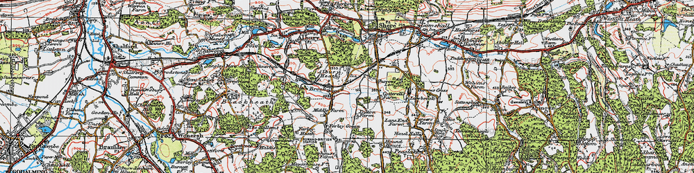 Old map of Albury Heath in 1920