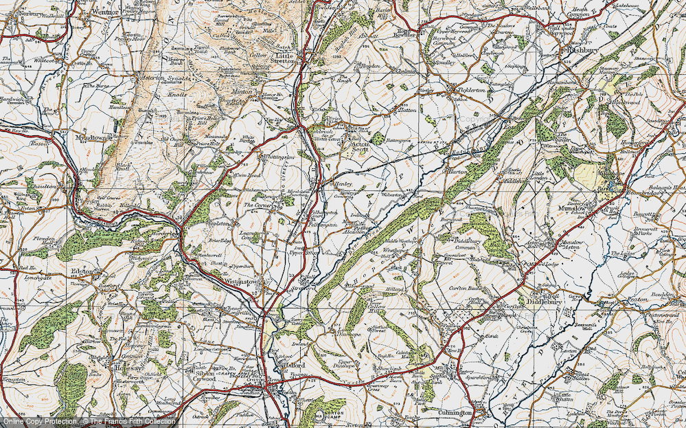 Old Map of Alcaston, 1920 in 1920