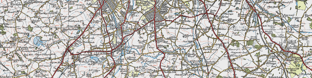 Old map of Alcester Lane's End in 1921