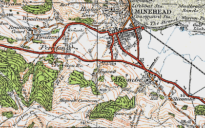 Old map of Alcombe in 1919