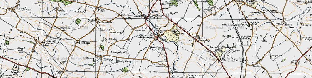 Old map of Alconbury in 1920