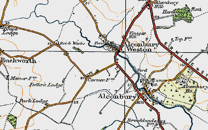 Old map of Alconbury Weston in 1920