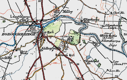 Old map of Aldborough in 1925