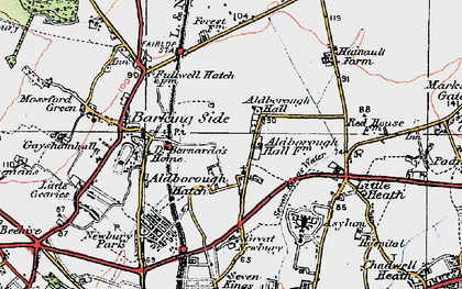 Old map of Aldborough Hatch in 1920