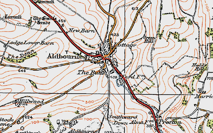 Old map of Aldbourne in 1919