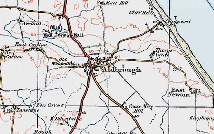 Old map of Aldbrough in 1924