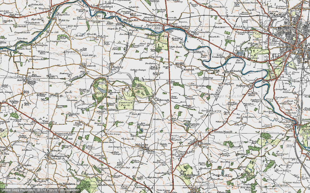 Old Map of Historic Map covering Aldbrough Beck in 1925