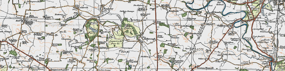 Old map of Aldbrough St John in 1925