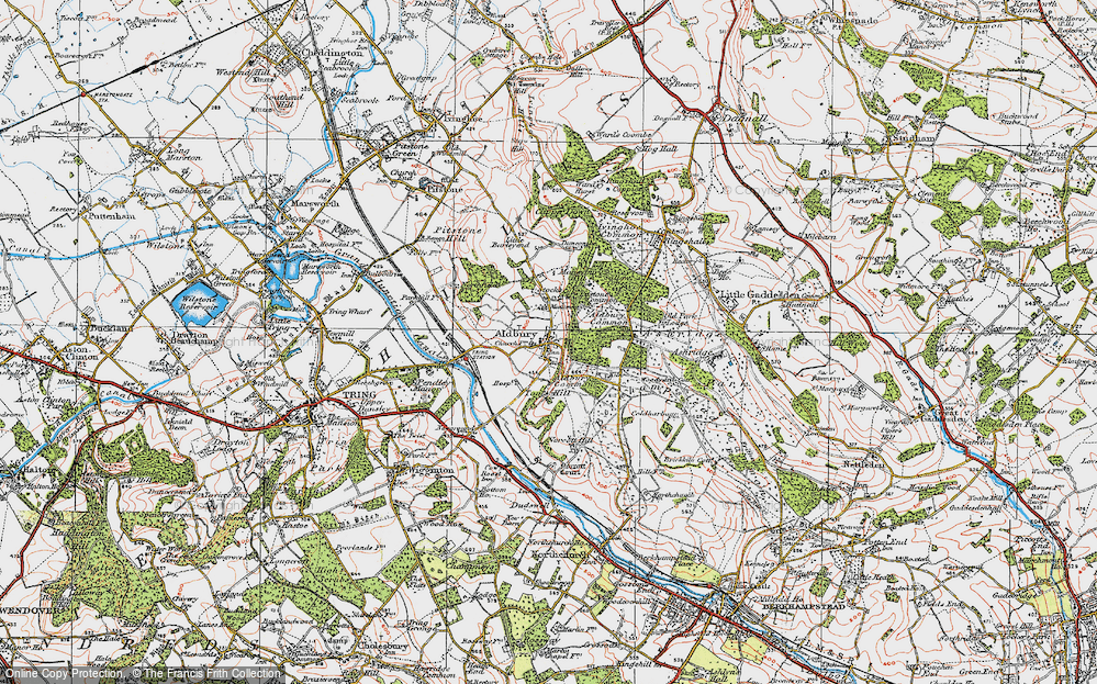 Old Map of Historic Map covering Aldbury Common in 1920