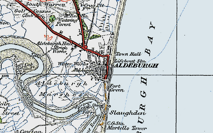 Old map of Aldeburgh Bay in 1921