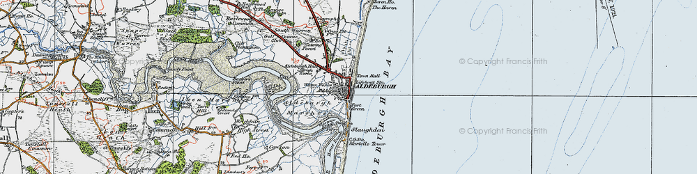 Old map of Aldeburgh in 1921