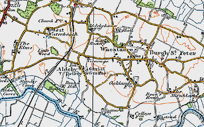 Old map of Aldeby in 1921