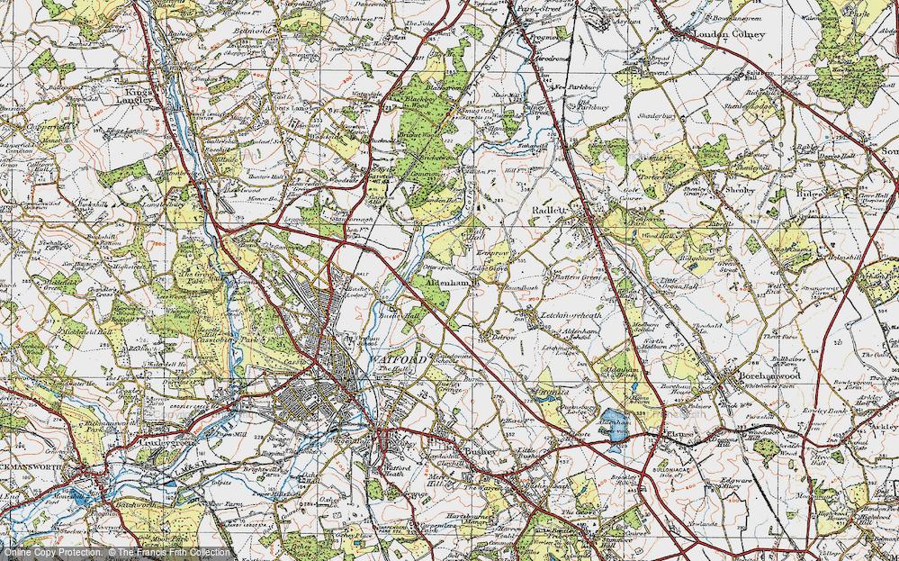 Old Map of Aldenham, 1920 in 1920