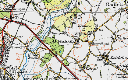 Old map of Aldenham in 1920