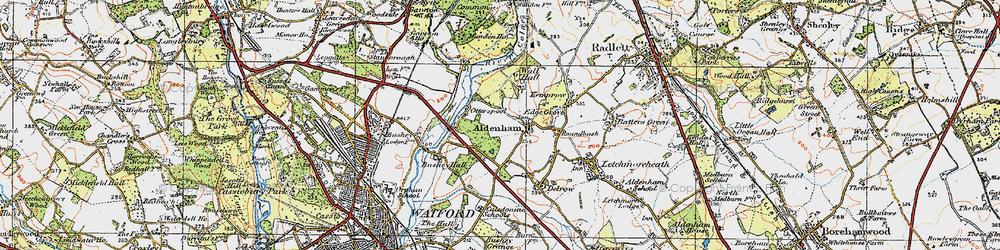 Old map of Aldenham in 1920