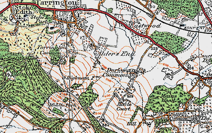 Old map of Alder's End in 1920