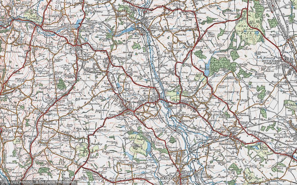 Old Map of Aldercar, 1921 in 1921