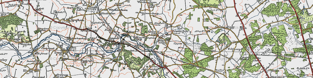Old map of Alderford Common in 1922