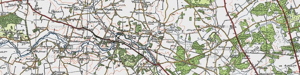 Old map of Alderford in 1922
