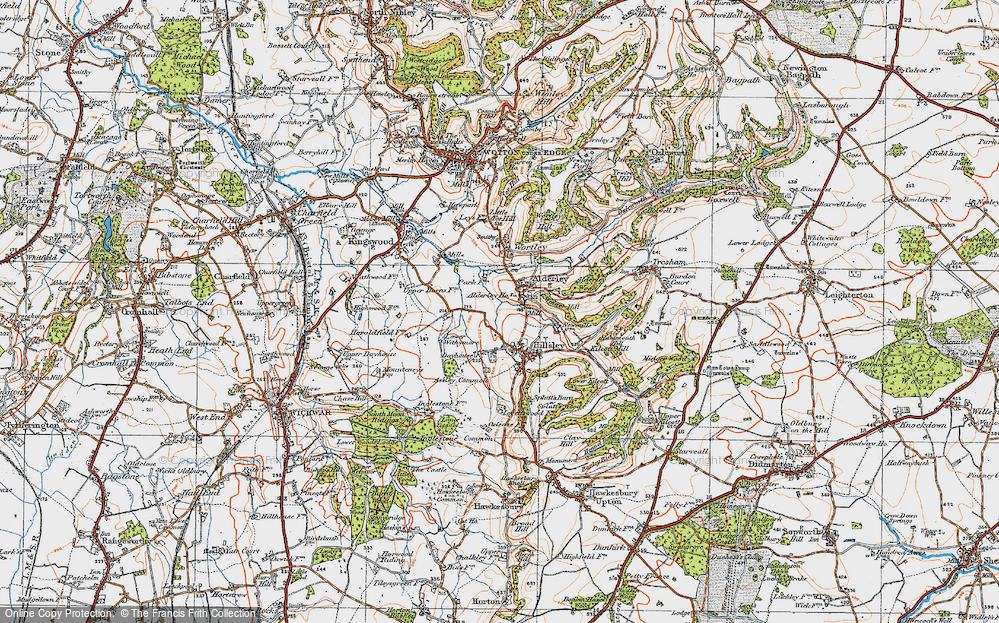 Old Map of Historic Map covering Alderley Wood in 1919