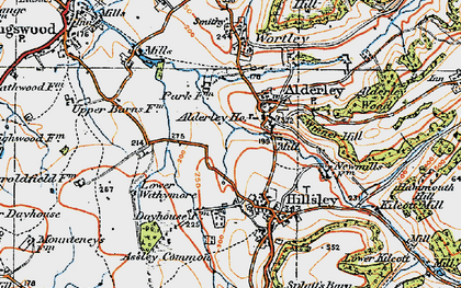 Old map of Alderley in 1919
