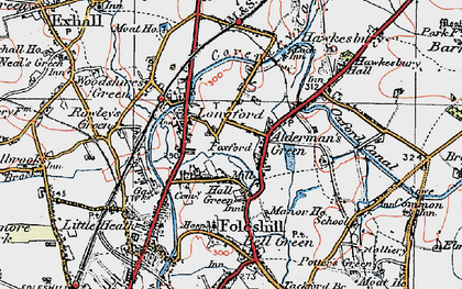 Old map of Alderman's Green in 1920