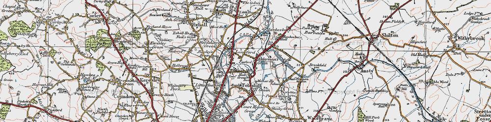 Old map of Alderman's Green in 1920