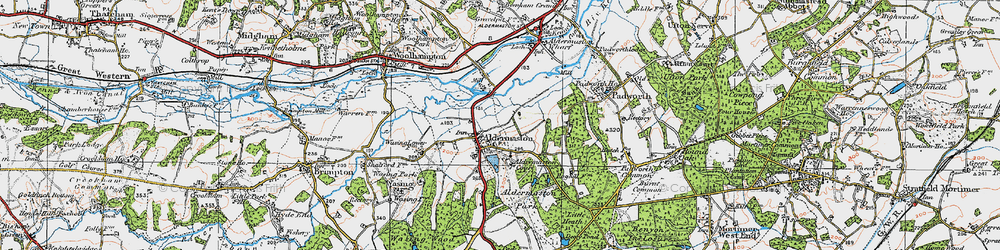 Old map of Aldermaston in 1919