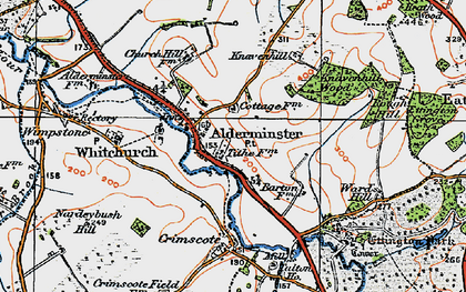 Old map of Alderminster in 1919