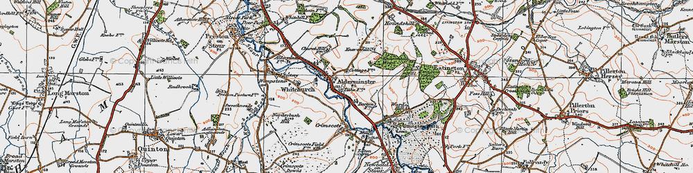 Old map of Alderminster in 1919